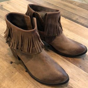 brown free people x faryl robin fringe booties